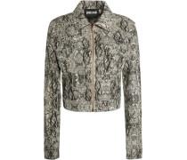Snake-effect cotton-blend jacket
