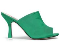 Pamela Silk-faille Sandals Green