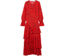 Amina Tiered Floral-print Crepe De Chine Maxi Dress Red