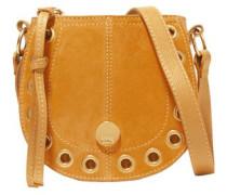 Eyelet-embellished Suede Shoulder Bag Saffron Size --