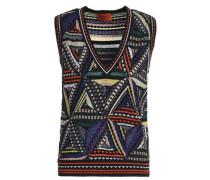 Patchwork-effect metallic crochet-knit vest