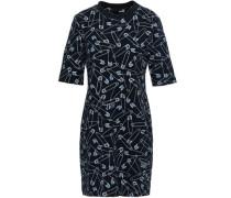 Printed French Stretch-cotton Terry Mini Dress Black