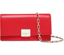 Two-tone Leather Clutch Red Size --