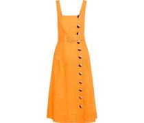 Woman Belted Button-detailed Linen Midi Dress Saffron
