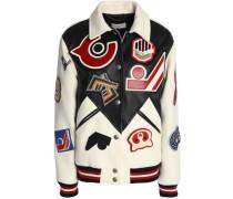 Embellished appliquéd leather and wool-blend felt jacket