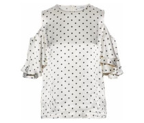 Leclair cold-shoulder polka-dot satin blouse