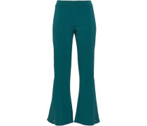 Button-detailed Woven Kick-flare Pants Teal