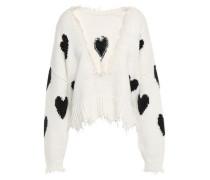 Frayed Intarsia Cotton Sweater White