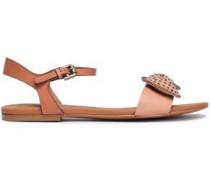 Studded Bow-embellished Leather Sandals Blush