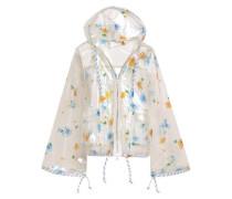 Floral-print Pvc Hooded Raincoat White