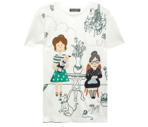 Appliquéd Cotton And Silk-blend T-shirt Ivory