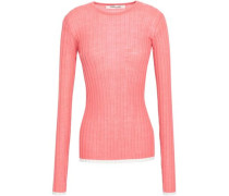 Ribbed-knit Wool-blend Top Pink