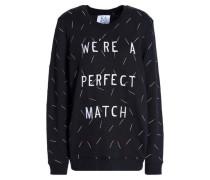 Embroidered Cotton-blend Sweatshirt Black