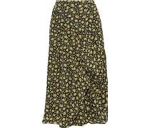 Zip-detailed Draped Floral-print Silk Midi Skirt Yellow