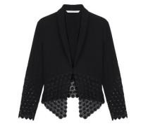 Castilla Guipure-paneled Crepe Jacket Black Size 14