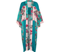 Ting Paneled Floral-print Crepe De Chine Kimono Green