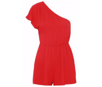 One-shoulder gathered crepe playsuit