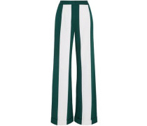 Striped Silk-blend Wide-leg Pants Forest Green