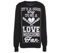 Intarsia Cotton Sweater Black
