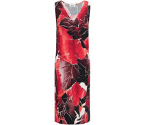 Wrap-effect Printed Crepe Dress Red