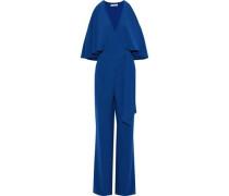 Wrap-effect Layered Crepe Jumpsuit Cobalt Blue