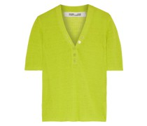 Paley Neon Ribbed Linen-blend Top