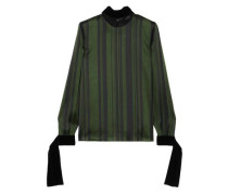 Lace And Velvet-trimmed Striped Satin Blouse Dark Green