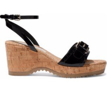 Buckled faux patent-leather and cork wedge sandals