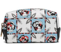 Leather-trimmed Printed Twill Cosmetics Case Sky Blue Size --