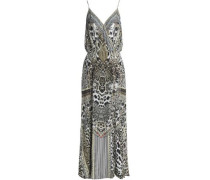 Crystal-embellished printed silk crepe de chine dress