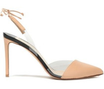 Pvc And Leather Slingback Pumps Neutral