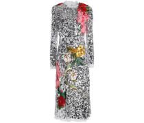 Appliquéd sequined tulle midi dress