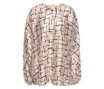 Oversized Printed Silk-satin Blouse Pastel Pink