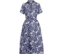 Belted Floral-print Linen Shirt Dress Navy