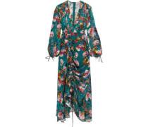 Gathered floral-print velvet maxi dress