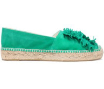 Fringed Suede Espadrilles Green