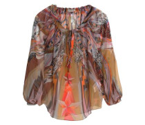 Gathered printed silk blouse