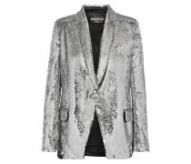 Sequined Satin-crepe Blazer Silver