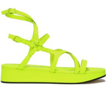Neon Leather Platform Sandals Bright Yellow