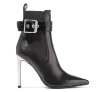 Buckled Leather Ankle Boots Black