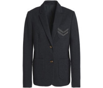 Bead-embellished mélange cotton-blend jersey blazer