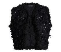 Sequin-embellished cotton-jacquard vest