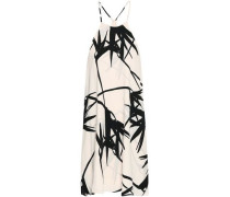 Printed Crepe Dress Off-white