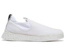 Woman Appliquéd Satin-trimmed Mesh Sneakers White