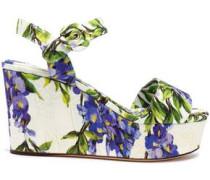 Floral-print jacquard wedge sandals