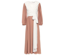 Kiki King Wave Wrap-effect Two-tone Crepe Maxi Dress Sand