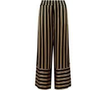 Brinni Striped Satin Wide-leg Pants Black