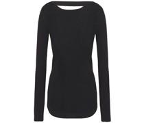 Woman Cutout Silk And Cotton-blend Sweater Black