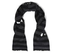 Appliquéd striped wool scarf