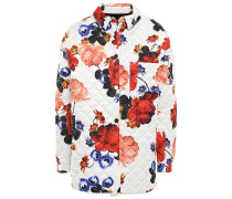 Woman Quilted Floral-print Satin Jacket Ivory